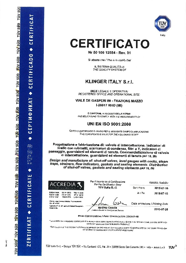 Certifications Usine Klinger<sup>®</sup> Italie