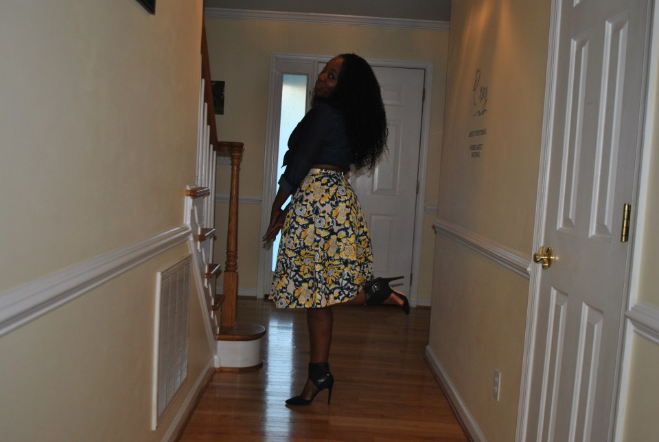 Denim top: Target Skirt: HandM Shoes: JustFab Necklace: Divinisty Charms