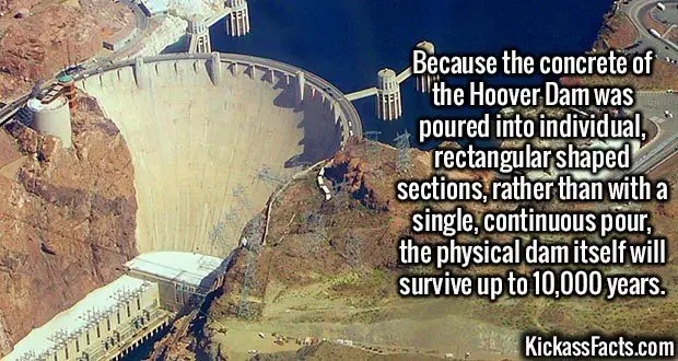2475 Hoover Dam-Because the concrete of the Hoover Dam was poured into individual, rectangular shaped sections, rather than with a single, continuous pour, the physical dam itself will survive up to 10,000 years.