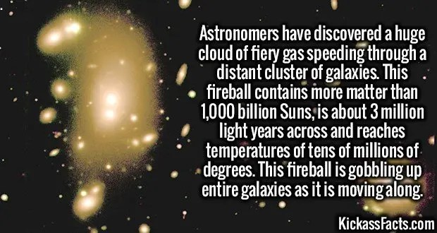 3497 Space Fireball-Astronomers have discovered a huge cloud of fiery gas speeding through a distant cluster of galaxies. This fireball contains more matter than 1,000 billion Suns, is about 3 million light years across and reaches temperatures of tens of millions of degrees. This fireball is gobbling up entire galaxies as it is moving along.