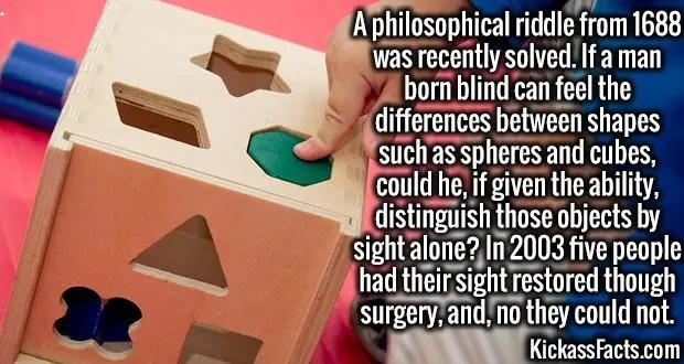 3733 Blind Riddle-A philosophical riddle from 1688 was recently solved. If a man born blind can feel the differences between shapes such as spheres and cubes, could he, if given the ability, distinguish those objects by sight alone? In 2003 five people had their sight restored though surgery, and, no they could not.