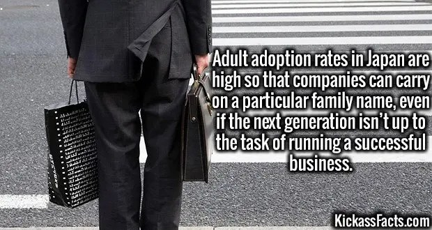 3738 Adult Adoption-Adult adoption rates in Japan are high so that companies can carry on a particular family name, even if the next generation isn't up to the task of running a successful business.