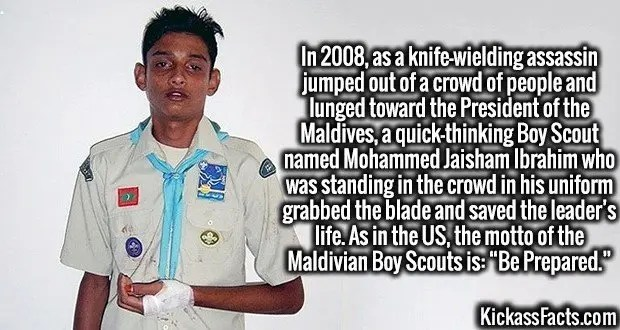 "3982 Mohammed Jaisham Ibrahim-In 2008, as a knife-wielding assassin jumped out of a crowd of people and lunged toward the President of the Maldives, a quick-thinking Boy Scout named Mohammed Jaisham Ibrahim who was standing in the crowd in his uniform grabbed the blade and saved the leader's life. As in the US, the motto of the Maldivian Boy Scouts is: ""Be Prepared."""