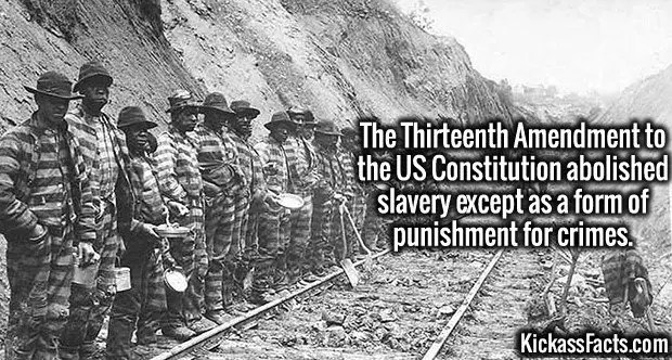 4220-criminal-slavery-The Thirteenth Amendment to the US Constitution abolished slavery except as a form of punishment for crimes.
