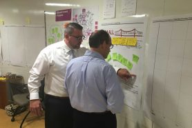 Duquesne Elementary School Assistant Principal Stan Whiteman and Elizabeth Forward School District Superintendent Dr. Bart Rocco share ideas during a Expanding Innovation Project workshop in early September.