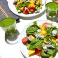 Mango broccoli salad with blue cheese