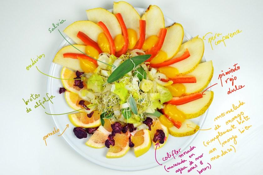 Ensalada de endivias, pera,, mango y pomelo