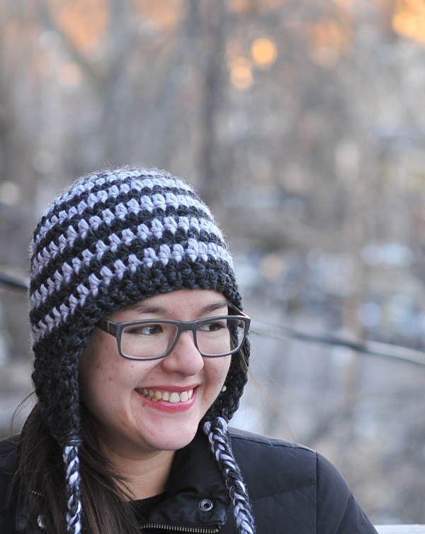 Double Crochet Hat Pattern With Ear Flaps : DIY: Striped Crocheted Earflap Hat with Free Pattern ...