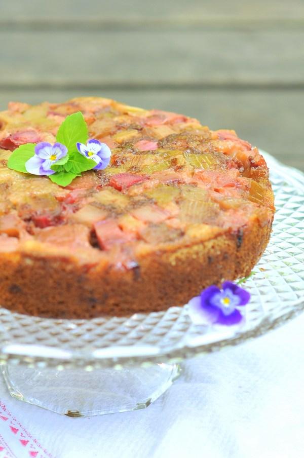 Almond Rhubarb Upside-Down Cake