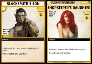 blacksmiths son and shopkeepers daughter cards from the pathfinder adventure card game