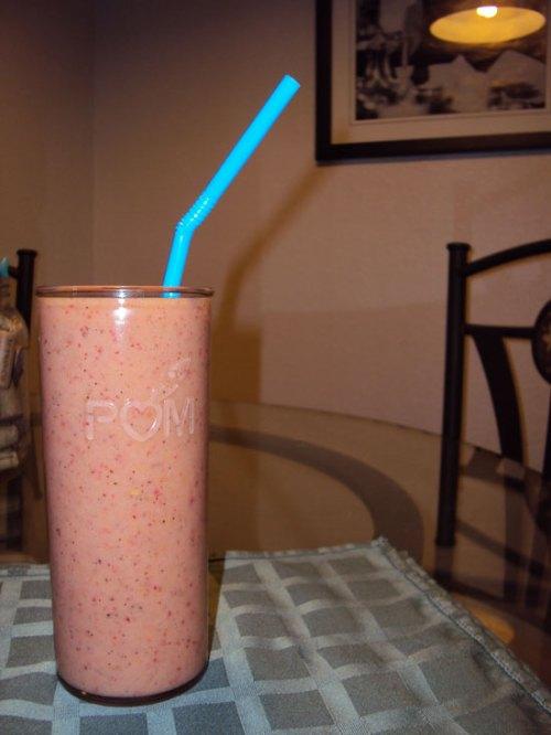 strawberry-kiwi-peach-pineapple smoothie