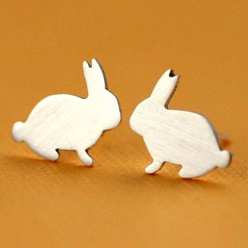 tiny bunny studs in silver