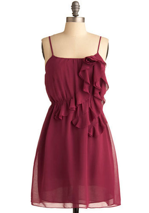 wine and rosettes modcloth dress