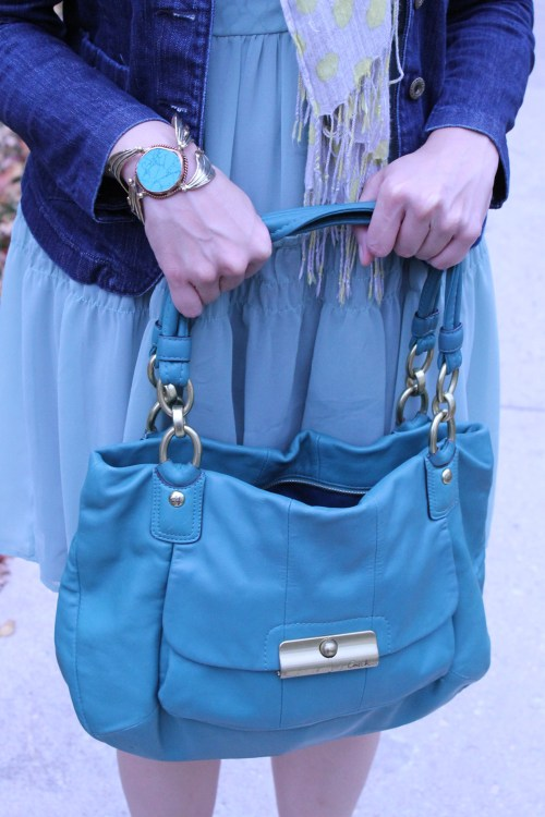 kimberlyloc teal coach bag and turquoise bracelet