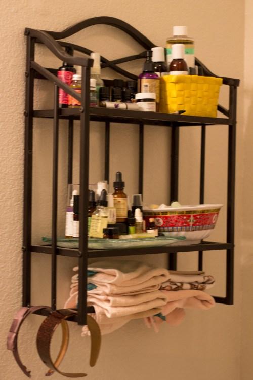 natural skincare shelf
