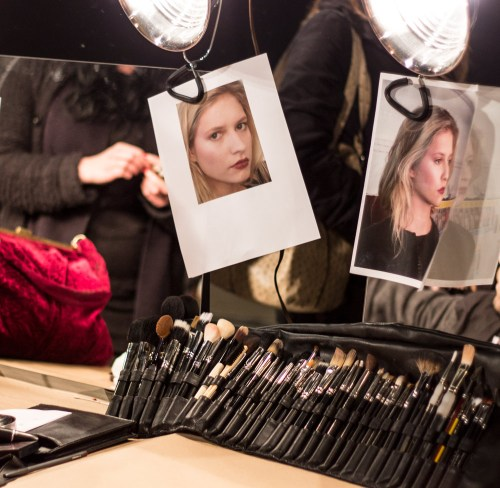 sally lapointe fall/winter 2013 show backstage beauty brushes and makeup looks