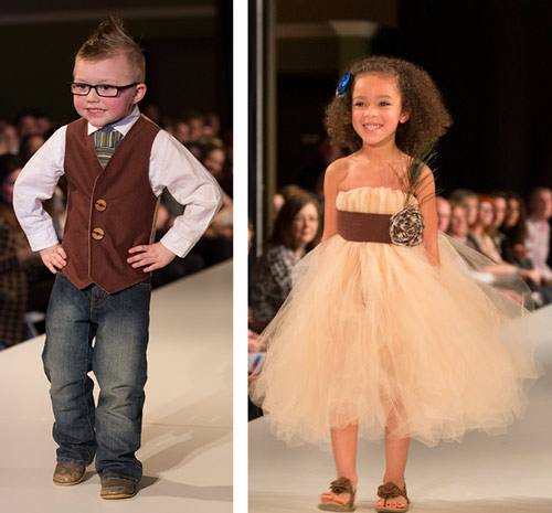 {The little man on the left had everyone dying as he strutted down the runway with his hands on his hips. The chica on the right's dress was too precious.}