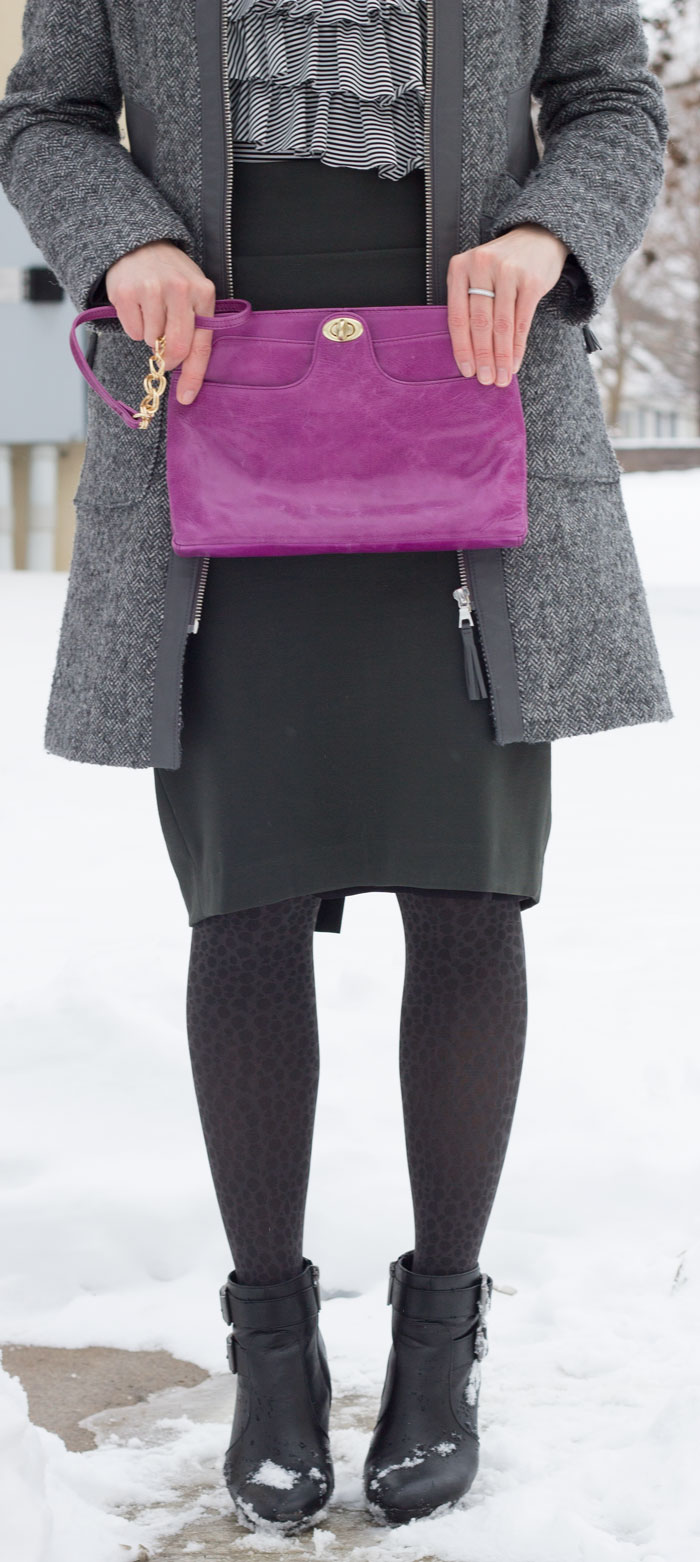 kimberlyloc wears a dark olive green na martin pencil skirt, gray via spiga coat and violet hobo bag