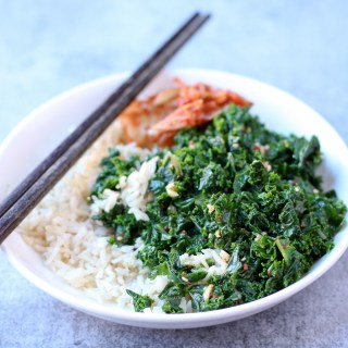 Korean-style kale salad is simply made in 5 minutes, tastes lightly roasted, is subtly spicy, and is all around hearty and healthy |www.kimchichick.com