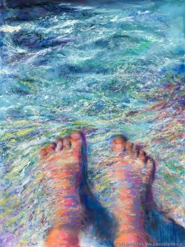 """The Tides of Humanity,"" Original Painting of a pair of feet with water flowing over them in pastel over watercolor by Kim Novak. Copyright 2014 Kim Novak. All rights reserved."