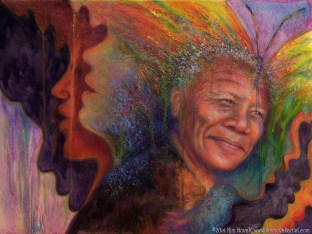 """Transformation - Nelson Mandela"" original painting of Nelson Mandela in pastel over watercolor by artist Kim Novak. Copyright 2014 Kim Novak. All rights reserved."