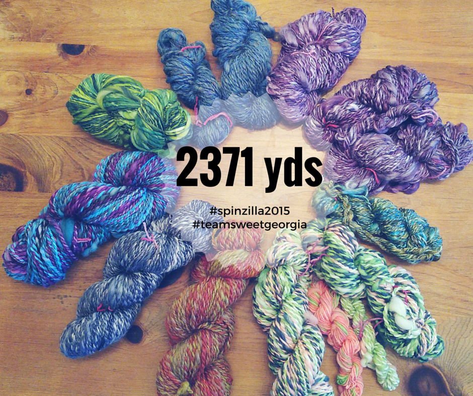 All the handspun from Spinzilla 2015