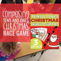 Composing Tens and Ones Christmas Race Game {Printable}