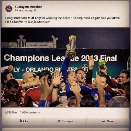 Bayern congratulate Al Ahly