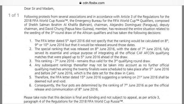 FIFA cancels new ranking