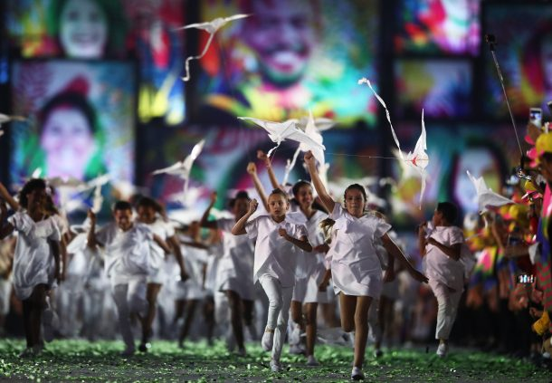 Young performers are seen during the Opening Ceremony of the Rio 2016 Olympic Games at Maracana Stadium on August 5, 2016 in Rio de Janeiro, Brazil. (Photo by Cameron Spencer/Getty Images)