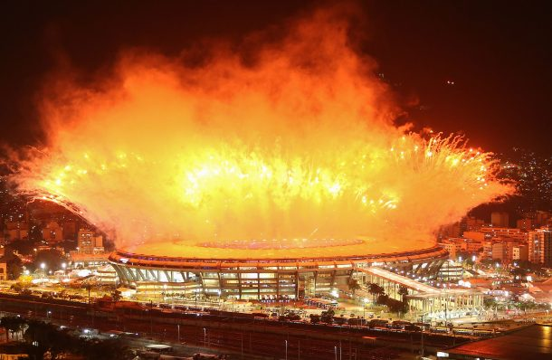 Fireworks explode over Maracana stadium during opening ceremonies for the Rio 2016 Olympic Games on August 5, 2016 in Rio de Janeiro, Brazil. The Rio 2016 Olympic Games commenced tonight at the iconic stadium. (Photo by Mario Tama/Getty Images)