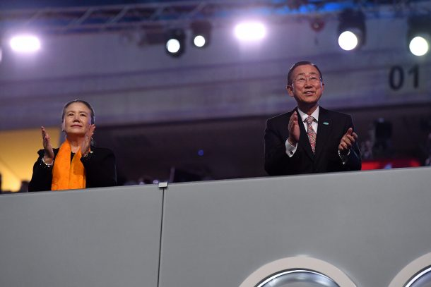 Secretary-General of the United Nations Ban Ki-moon (R) and wife applaud to the South Korea Olympic team during the Opening Ceremony of the Rio 2016 Olympic Games at Maracana Stadium on August 5, 2016 in Rio de Janeiro, Brazil. (Photo by Pascal Le Segretain/Getty Images)