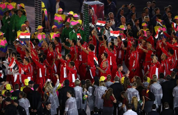 RIO DE JANEIRO, BRAZIL - AUGUST 05: Members of the Egypt team enter the stadium during the Opening Ceremony of the Rio 2016 Olympic Games at Maracana Stadium on August 5, 2016 in Rio de Janeiro, Brazil. (Photo by Lars Baron/Getty Images)