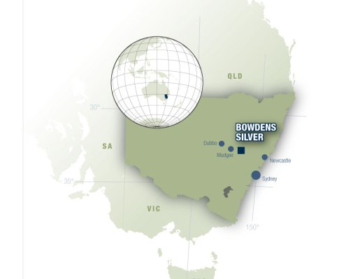 Bowdens Silver Project Location Map