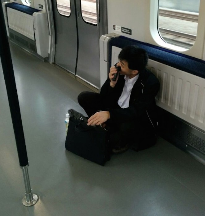 shaving on the train