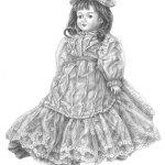 『フランス人形』 講師・鉛筆画・F6号