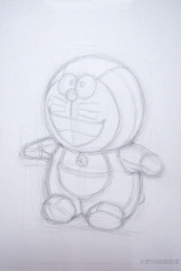 鉛筆デッサンの描き方(ドラえもんぬいぐるみ)1