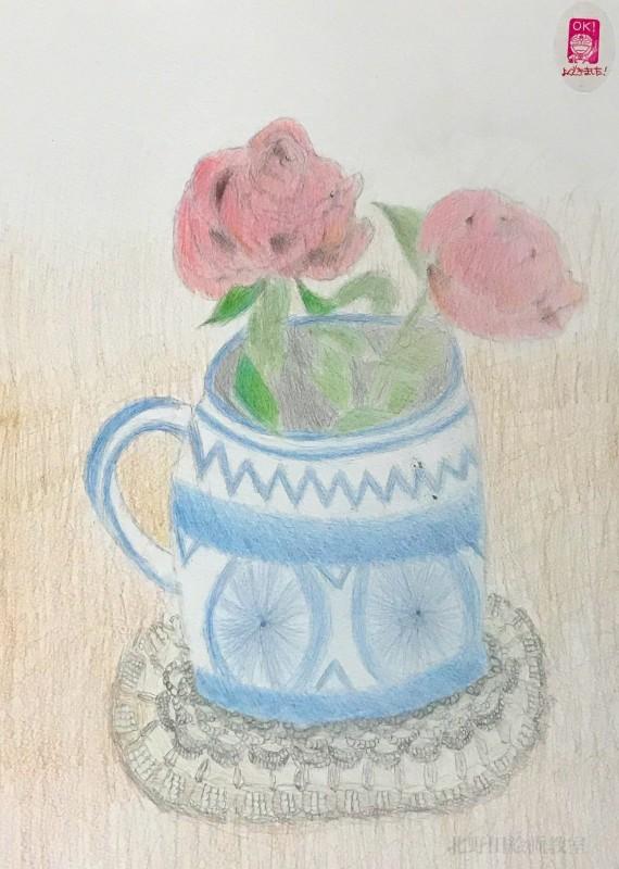 すみれちゃんの色鉛筆画 薔薇