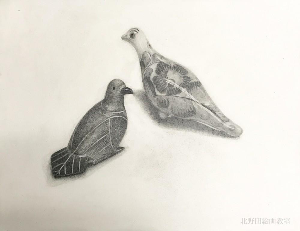 咲楽有里さん 鳥の置物デッサン