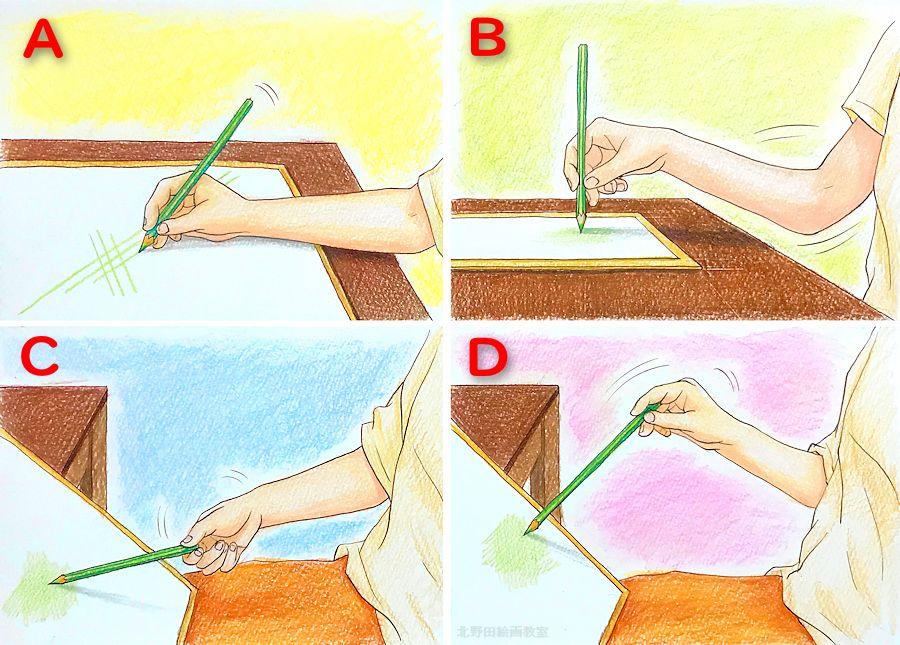色鉛筆画の描き方・鉛筆の持ち方