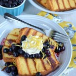 dishin it up may 2016 - Grilled Pound Cake with Lemon Honey Whipped Cream and Blueberry Compote