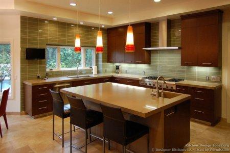 kitchen cabinets modern dark wood 050a dkl001 cherry island chairs pendant gl backsplash