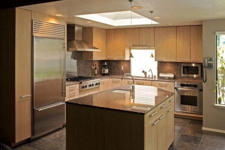 kitchen cabinets modern light wood 002a s26042311 angled island
