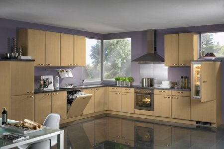 kitchen cabinets modern light wood 012 a010a tile floor purple lavender walls