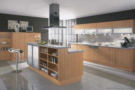 kitchen cabinets modern light wood 017 a091a island seating steel hood lift doors