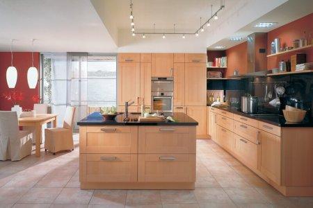 kitchen cabinets modern light wood 027 a140a red orange walls island steel hood favorite