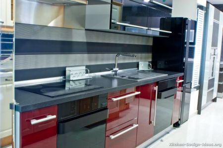 kitchen cabinets modern two tone 105 s16681090 red black