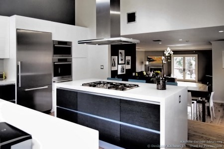 kitchen cabinets modern two tone 298e dkl009 black white island hood cooktop great room
