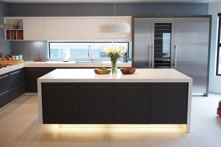 kitchen cabinets modern two tone 337a dkl024 black white island luxury backsplash window
