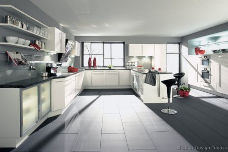 kitchen cabinets modern white 015 a110a peninsula gl doors wall oven gray countertops